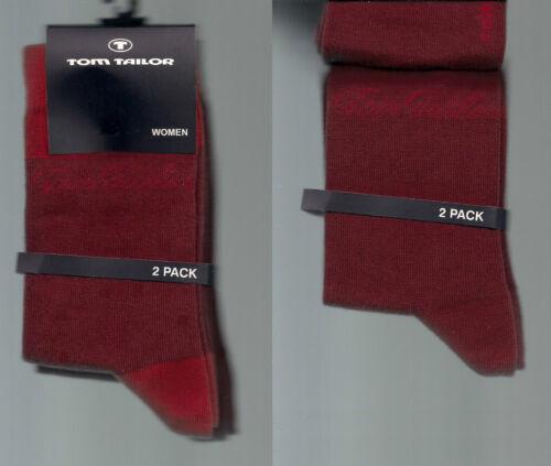 *TOM TAILOR* BAUMWOLLMIX  2er Pack weiche Socken div.Gr weinrot-rot//weinrot