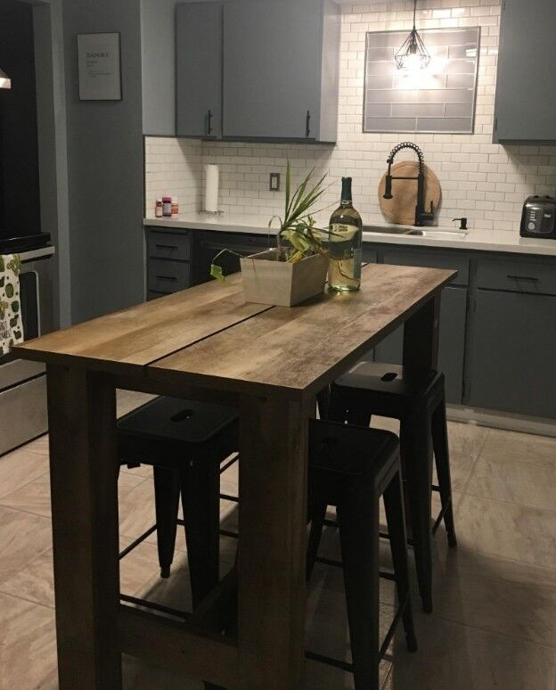 Rustic Wood Counter Height Farmhouse