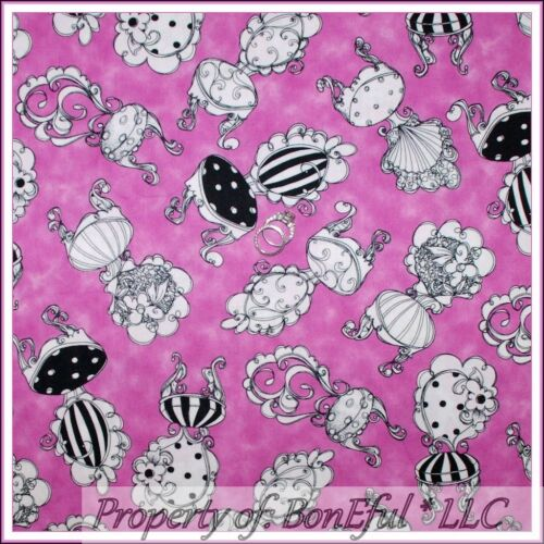 BonEful Fabric FQ Cotton Quilt Pink B/&W Victorian Flower S Shabby Chic Chair Dot