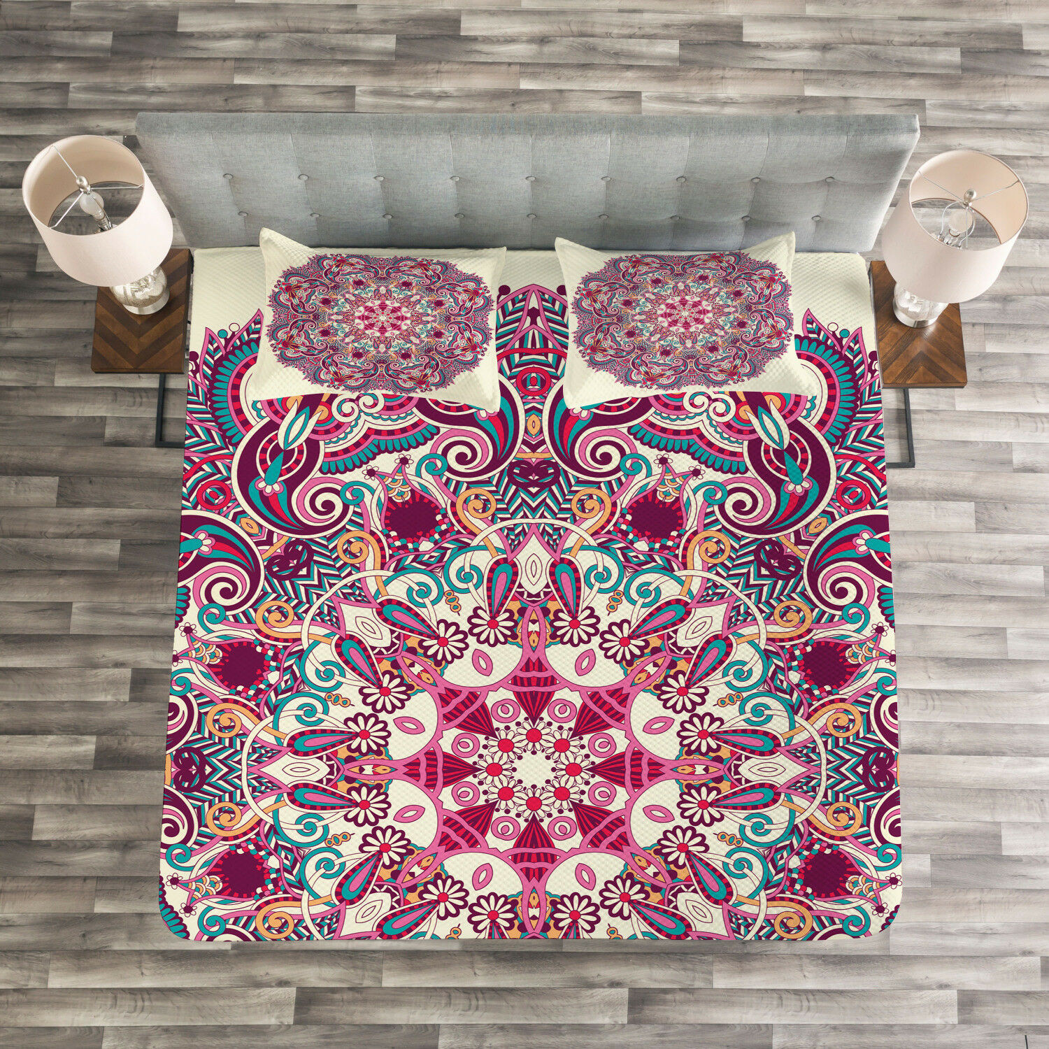 Mandala Quilted Bedspread & Pillow Shams Set, Boho Tribal Floral Print