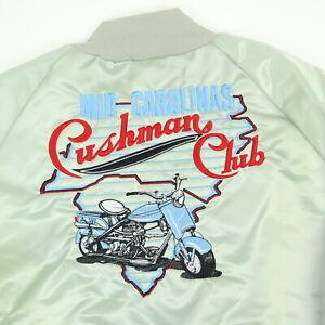 Vtg-Cushman-Motor-Scooter-Club-Bomber-Jacket-Mens-XL-USA-Made-Satin-Nylon-Fred