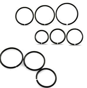 New-Surgical-Steel-Black-Anodised-Eyebrow-Nose-Cartilage-Ring-Hoop-Stud