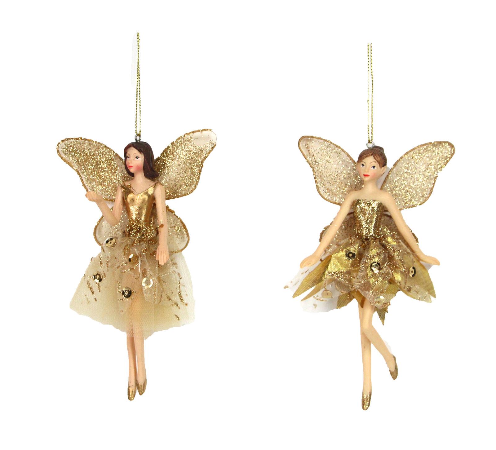 * Nuevo * Gisela Graham Celestial Oro Colgante de Decoración de Navidad Hada Ballet x 2