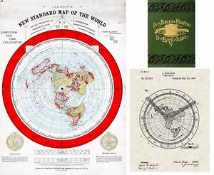 Flat Earth Map Gleason's 1892 New Standard Map of the World Alexander Gleason