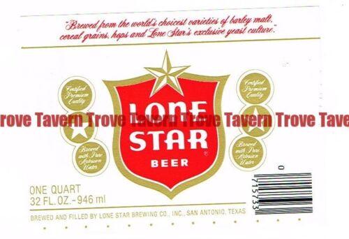 Unused 1970s TEXAS San Antonio LONE STAR BEER Quart 32oz Label