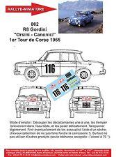 "Decals promo 1/24 réf 802 Re8 Gordini ""Orsini - Canonici"" 1er Tour de Corse 1965"
