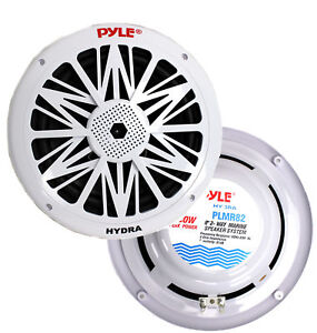 2-NEW-PYLE-PLMR82-8-034-300W-2-Way-Waterproof-Marine-Boat-Speakers-White-PAIR