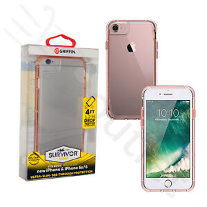 competitive price 551da 462d2 Details about Griffin Survivor Clear Slim Fit Case Cover for Apple iPhone  8/7/6/6s - Rose Gold