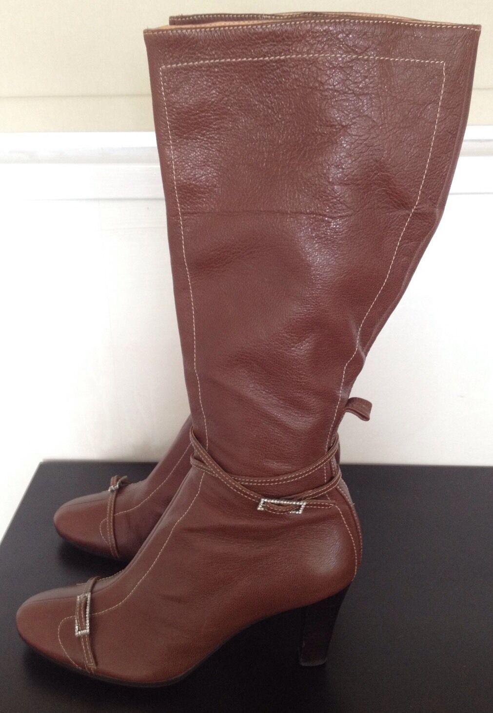 Moda Italia Brown Soft Leather Knee High Boots Heel Diamante Buckle Zip UK 7