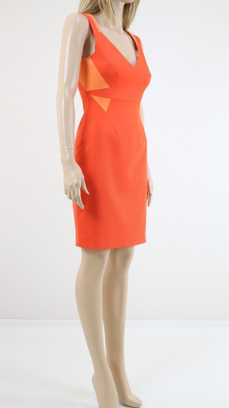Karen Millen DV222 Woherren Orange Cut Outs Mascara Pencil Cocktail Dress UK 10
