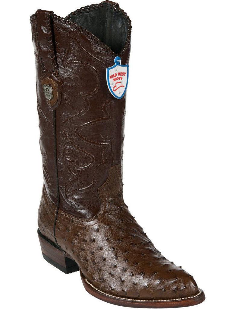 nessun minimo WILD WEST WEST WEST Marrone GENUINE FULL QUILL OSTRICH WESTERN COWBOY avvio J-TOE (EE+)  negozio online