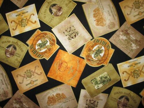 WINE BOTTLE LABELS NAMES METALLIC GOLD CREAM COTTON FABRIC FQ