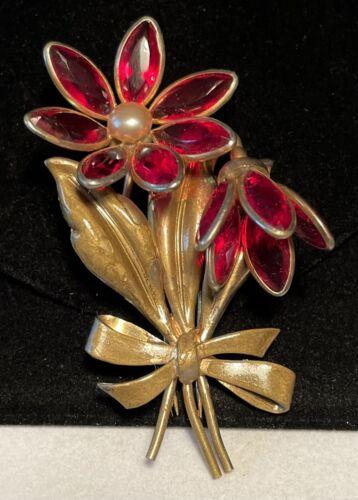 "Trifari Fur Clip Rare Vintage 3"" Unsigned Gilt Red"