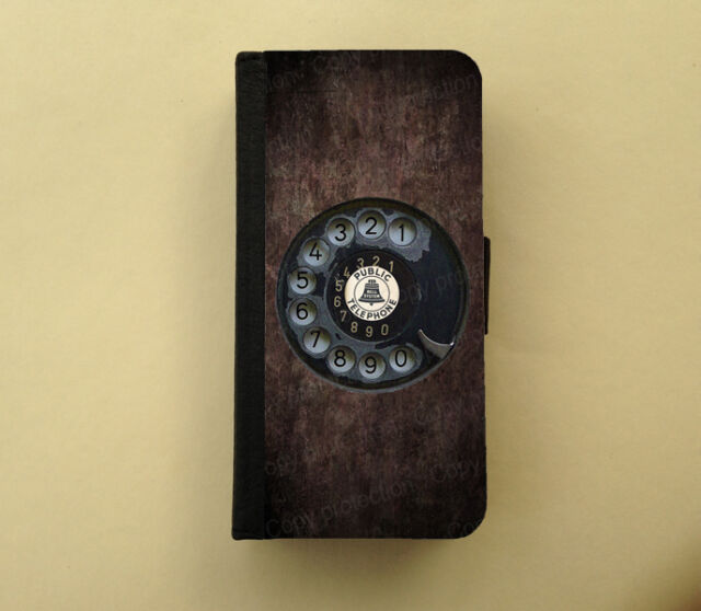 Rotary phone retro iPhone wallet Samsung wallet case flip case funny gift idea