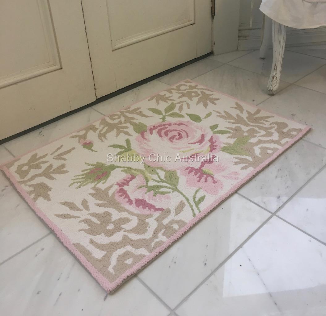 Hamptons Hand Hooked Cotton Floor Rug Mat Shabby Pink