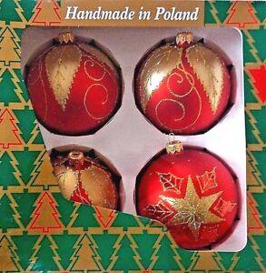 4 Klonpol Mouthblown Red Gold Poinsetia Leaves Xmas Glass Ornaments Poland Ebay