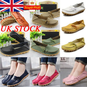 UK-Womens-Moccasin-Lazy-Shoes-Slip-On-Loafers-Strappy-Flat-Pumps-Boat-Shoes-Size