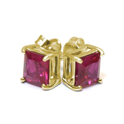 Ruby Stud Earrings 2.5ct Diamond-Unique Princess cut Solitaire 9ct Gold