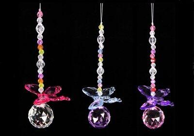 Hanging Suncatcher With Teardrop Crystal Pendant Butterfly Sun Catcher