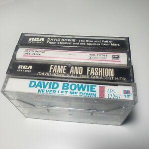 David Bowie Lot of 4 Cassette Tapes Ziggy Stardust Let's Dance Never Let Me Down