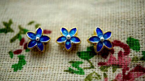 Fleur bleu émail minuscule perle Gold Jewellery Supplies C988