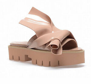 N 21 Kartell Bow Beige Nude Mules Plastic Knot Ciabatta Sandals 40 Rubber PVC