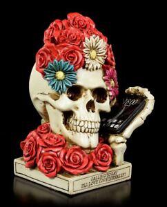 Esqueleto-Calavera-Cabeza-de-flor-con-telefono-Decoracion-Gotica-colores