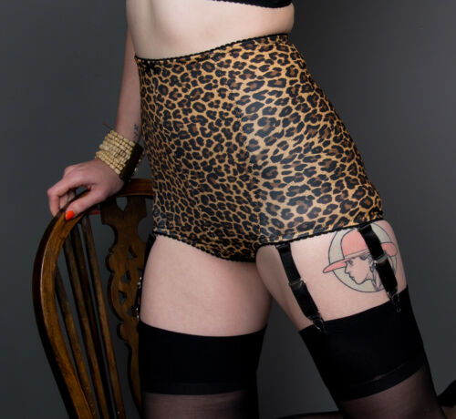 059 High Waisted Leopard Girdle With 6 Detachable Straps NEW!