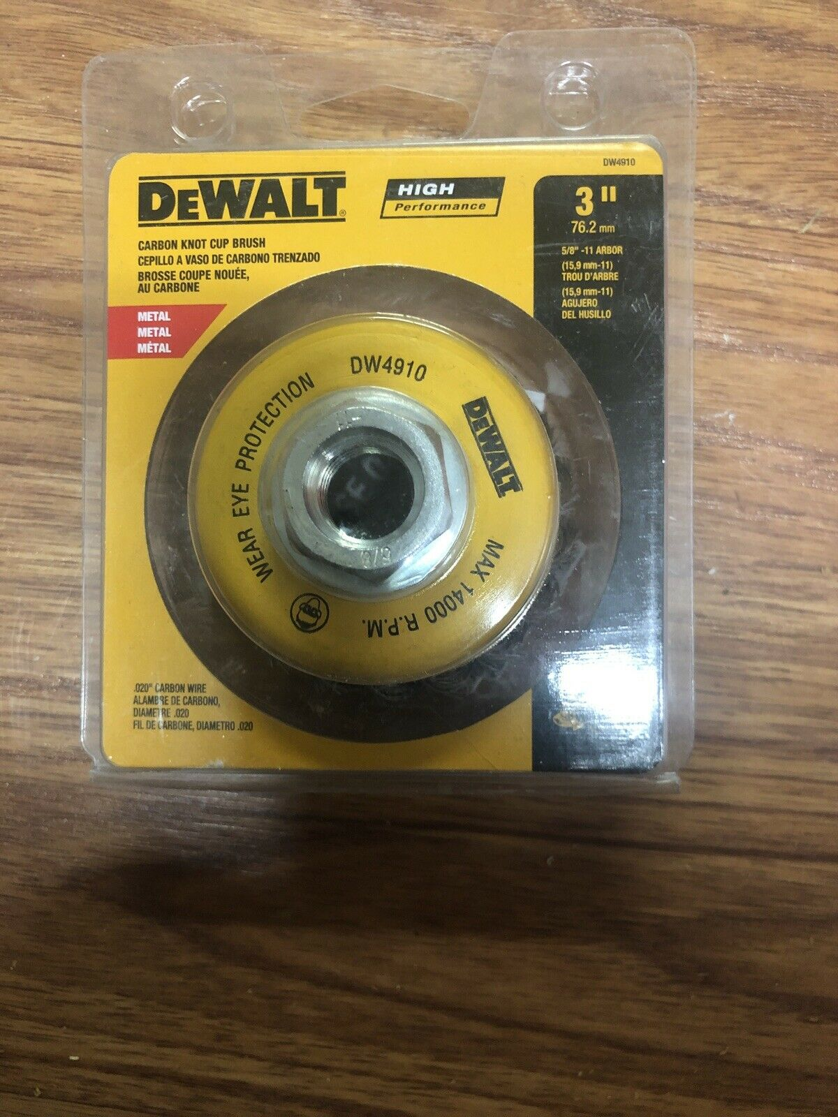 DeWalt DW4910 3 x 5//8-11 Knotted Wire Cup Brush Quantity 6