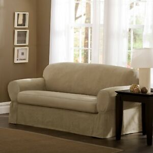 Maytex Piped Suede Two Piece Patented Sofa Slipcover Tan