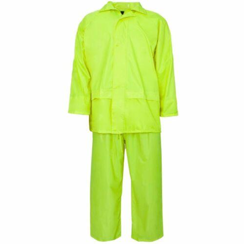 Hi Vis and Plain Rainsuit Jacket Trouser Waterproof Hooded PVC Unisex