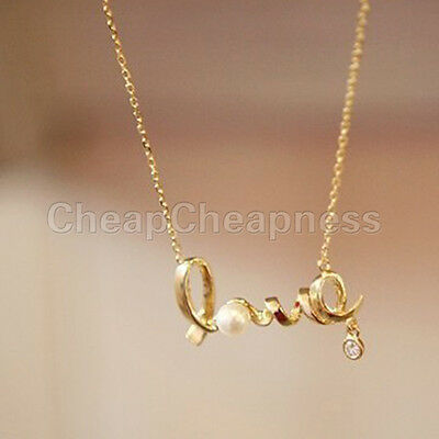 New Women Gold & Silver Pearl Pendant Love Chain Necklace Fashion Gift