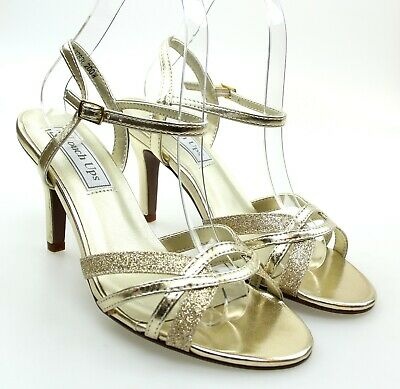 182532 Touch Ups Womens Jane Silver Glitter Ankle Strap Heels Size 8