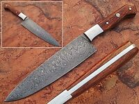 Handmade Chef Knife Kitchen Cutlery Cooking Damascus Steel Chef Wood Handle 1095