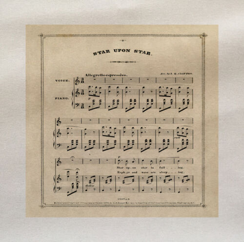Music sheet Star Printed On Fabric Panel Make A Cushion Upholstery Craft