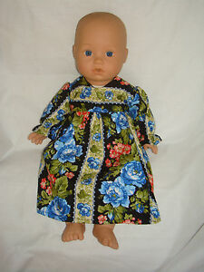 Black Floral Cotton Dress. To Fit Baby Annabell size 18 ...