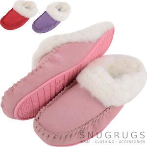 Mujer-De-Lujo-Para-Dama-ASTRACAN-Ante-Forro-Zapatos-Sin-Talon-Pantuflas