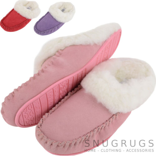 Womens Luxury Lambswool Suede Lined Mule Ladies Slipper with Rubber Sole