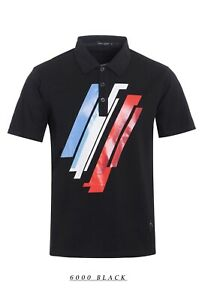 New-Mens-Short-Sleeve-Polo-Shirt-Slim-Fit-Stretch-Black-Blue-White-Red-Stripes