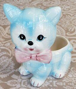 Vintage-R-B-Blue-Kitten-Cat-Patchwork-Ceramic-Planter-Kitsch-Japan-Kawaii-Decor
