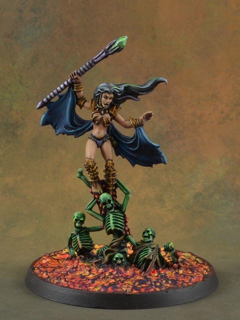 Målad Thanos Boneceller från Reaper Miniatures D&D-kvinnliga nekromantiker