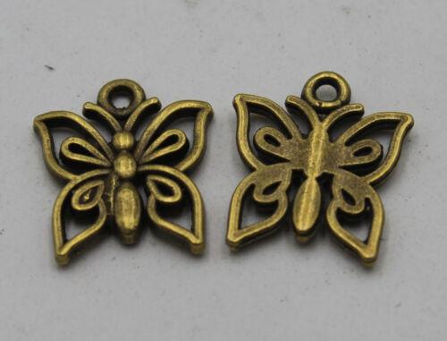 60//150Pcs Retro style butterfly Charm Pendant DIY Jewellery crafts 14X12mm