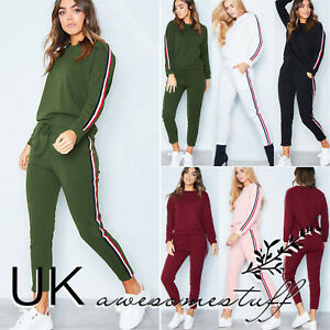 UK-Womens-2-PCS-Tracksuits-Set-Ladies-Striped-Active-Sport-Loungewear-Size-6-16