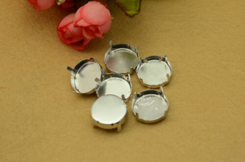 40 PCS 25mm Glass Round Jewels/'s Settings For Sewing On