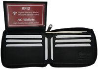 Mens Zip Around Bifold Leather Rfid Blocking Credit Card/id Security Wallet
