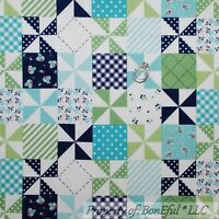 Boneful Fabric Fq Flannel Cotton Quilt Blue White Green Patchwork Cheater Block