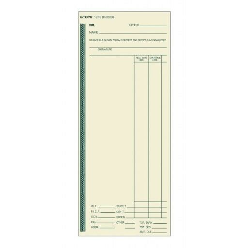 TOPS 1262 Time Card Weekly Manila C8500 Green Ink Front 500 CD per BX. Shipping
