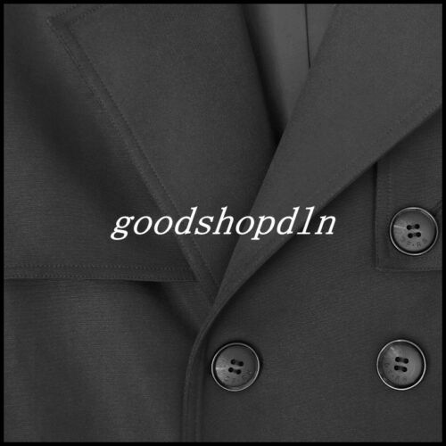 Mens Full Length Long Trench Coat Loose Double Breasted Overcoat Parka Outerwear