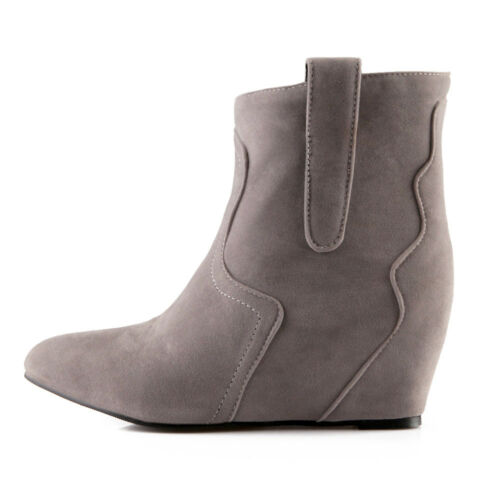 Ladies Casual Wedge Hidden Heel Ankle Boots No Pattern Synthetic Pull On Shoes