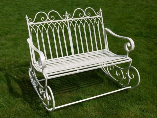 Garden double rocking chair aged cream shabby chic steel garden rocking chair